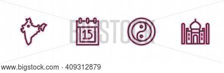 Set Line India Map, Yin Yang, Independence Day And Taj Mahal Icon. Vector
