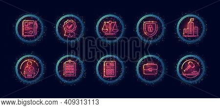 10 In 1 Vector Icons Set Related To Judgement Theme. Lineart Vector Icons In Geometric Neon Glow Sty