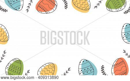 Festive Border Or Frame Template With Trendy Outlined Geometric Pattern On Easter Eggs. Horizontal B
