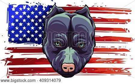 Head Of Aggressive Bully Dog With American Flag