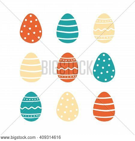 Cute Cartoon Style Vector Easter Egg Decorated With Dots, Stripes, Ornaments For Easter Design.