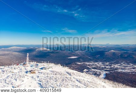 Sheregesh Ski Lift Resort In Winter, Landscape On Mountain And Hotels, Aerial Top View Kemerovo Regi