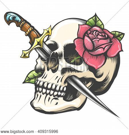 Colorful Tattoo Of Skull With Rose Flower And Dagger Isolated On White. Vector Illustration.
