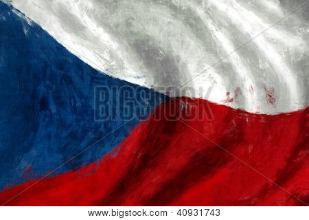 Flag Of Czech Abstract Painting Background