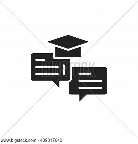 Oratory Courses Black Glyph Icon. Outline Pictogram For Web Page, Mobile App, Promo.