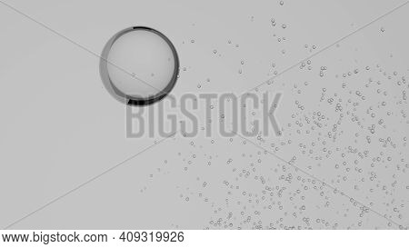 3d Illustration Of A Glass Sphere And Lots Of Water Bubbles Isolated On A White Background. Cgi, Com