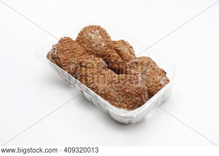 Traditional Fried Meat Patties, Burgers, Minced Cutlets On A Plastic, Transparent Food Tray, Isolate
