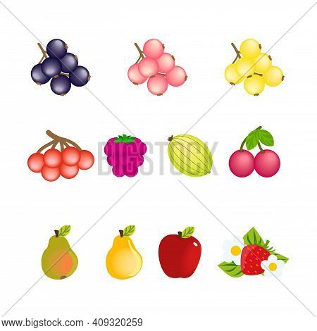 Set Of Simple Cartoon Icons Of Fruits And Berries Isolated On White Background. Vector Clipart Image