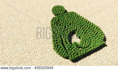 Concept or conceptual group of green forest tree on dry ground background, sign of pregnant woman. A 3d illustration metaphor for motherhood, maternity, awaiting, love, care, life, miracle and joy