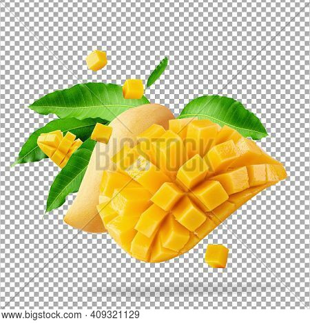 Mango Fruit With Mango Cubes And Slices Isolated Over Alpha Background With Clipping Path.