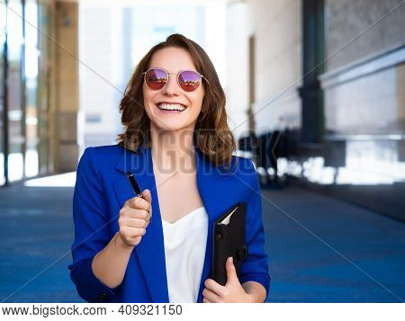 Smiley Businesswoman Or Lawer Meet A Friend. She Looking At Camera And Smiling. Business Concept.