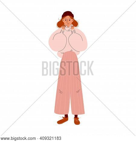 Nice Girl In A Big Warm Sweater, Wide Trousers, And Brown Lace-up Shoes. Cartoon Young Woman In A Br