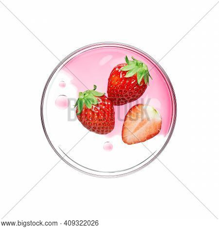 Fresh Strawberry With Essence On Petri Dish Over White Background