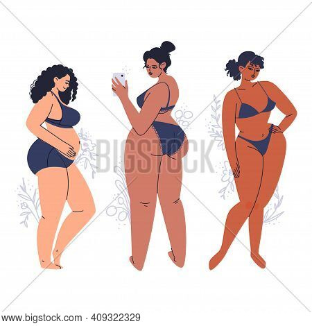 Young Tanned Women Posing In Lingerie. A Variety Of Full-bodied Adult Girls In Dark Swimwear. Hand-d