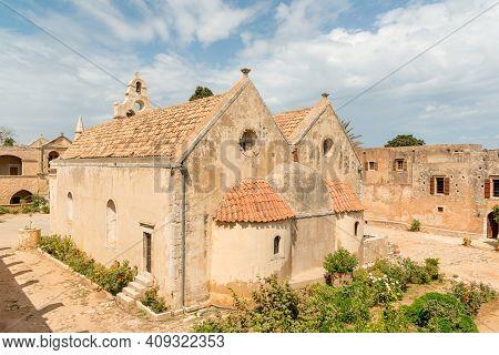 Historic Medieval Greek Orthodox Arkadi Monastery Famous For Cretan Resistance, Crete, Greece