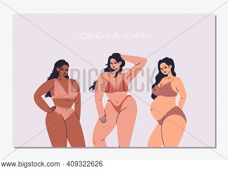 Horizontal Postcard With Three Diverse Women In Lingerie. Vector Illustration Of Different Types Of
