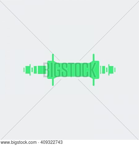 Bike Hub Icon. Green On Gray Background. Vector Illustration.