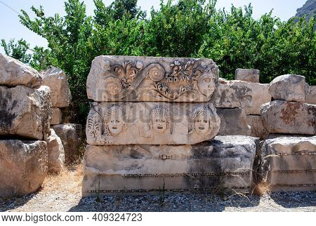 Bas Reliefs On The Ancient Stone Faces Are Carved In Stone Myra Turkey