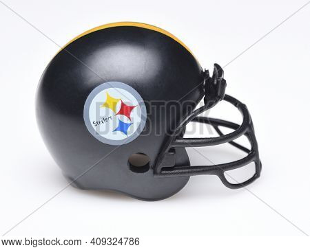 IRVINE, CALIFORNIA - AUGUST 30, 2018: Mini Collectable Football Helmet for the Pittsburgh Steelers of the American Football Conference North.