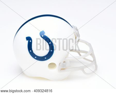 IRVINE, CALIFORNIA - AUGUST 30, 2018: Mini Collectable Football Helmet for the Indianapolis Colts of the American Football Conference South.