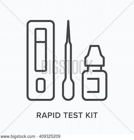 Rapid Test Kit Flat Line Icon. Vector Outline Illustration Of Coronavirus Diagnostic. Black Thin Lin
