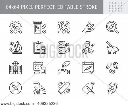 Antibiotic Resistance Line Icons. Vector Illustration Include Icon Pills, Bacteria, Genetics, Inject