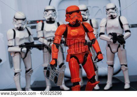 FEB 20 2021: Scene emulating cosplay Hip Hop Trooper and boom box - Hasbro action figure