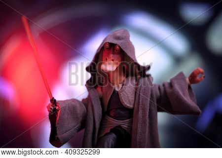 FEB 20 2021: Star Wars humor concept, Darth Jar Jar Binks - Hasbro action figure