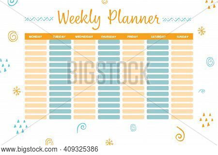 Modern Illustration With Weekly Planner For Print Design. Calendar Design Template. Stationery Templ