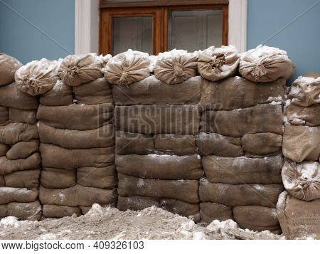 Battle Barricade Of Sandbags In Front Of The House.