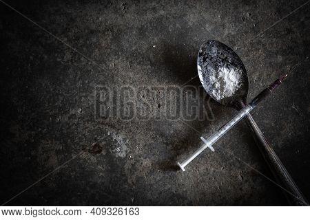 Drug Syringe And Cooked Heroin On Spoon,  Drugs Concept, 26 June, International Day Against Drug Abu