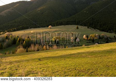 Green Field And Hilly Landscape In Background.