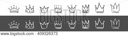 Doodle Crown Icons. Hand Drawn Crowns. Royal Imperial Coronation And Monarch Symbols. Vector Illustr