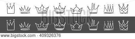 Crown Icons. Hand Drawn Crowns. Royal Imperial Coronation And Monarch Symbols. Vector Illustration