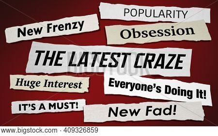 The Latest Craze Newspaper Headlines New Fad Popular 3d Illustration