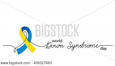 World Down Syndrome Day Simple Vector Background, Banner, Poster With Yellow And Blue Ribbon Symbol.