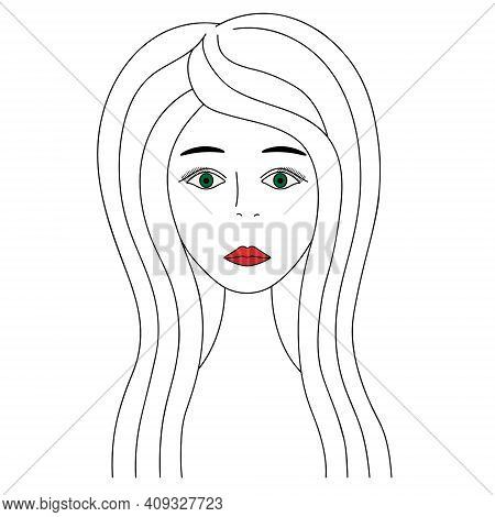 Womans Face. Sketch. Girl Full Face. Vector Illustration. Nice Lady With Green Eyes. Long Eyelashes.