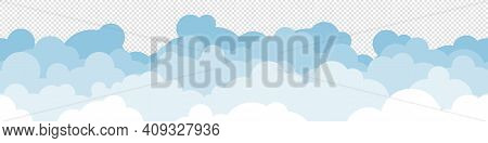 Clouds Vector Flat Seamless Template Backdrop, Sky Cloudscape Repetitive Cloud Concept Illustration
