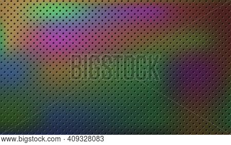 Dark Technology Background. Black Perforated Metal With Color Stains