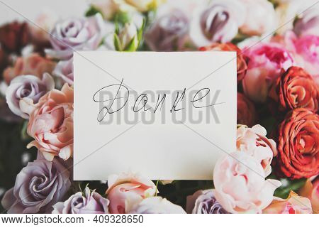 White Card For A Bouquet With The Inscription Thank You On German In A Bright Beautiful Bouquet Of F