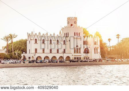 Kos Island, Greece, August 2019: The Government Palace Of Kos At The Sunset, Located On Akti Miaouli