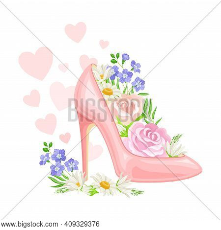 High Heeled Pink Shoe With Blooming Flowers Inside And Fluttering Hearts As International Women S Da