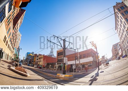 View Of Main Street In Buffalo, Ny, Usa With Streetcar Line On Foreground