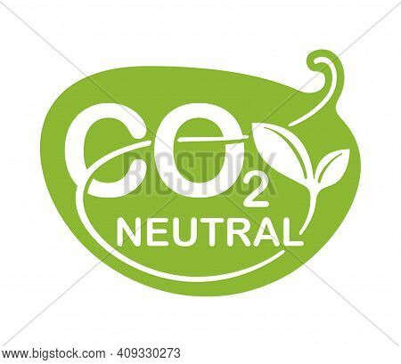 Co2 Neutral Green Floral Sticker, Net Zero Carbon Footprint - Carbon Emissions Free No Air Atmospher