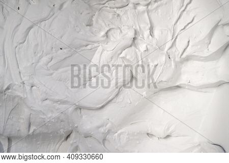 White Rough Surface With Hard Texture, Putty, Foam, Background With Bulky Convex Structure Under Har