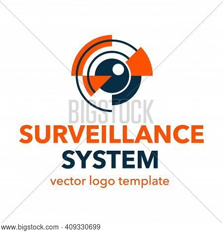Surveillance System Or Spy Video Equipment Logo Template - Ey Of Beholder With Water Rings Around -