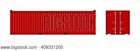 Cargo Container. Cargo Box From Ship. Freight Container For Shipping Of Merchandise. Red Metal Trans
