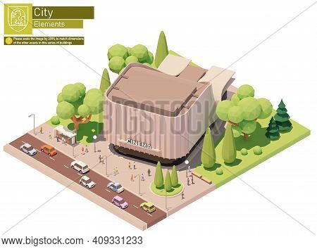 Vector Isometric Movie Theater Building. Modern Cinema Building Exterior With Spectators Gathering N