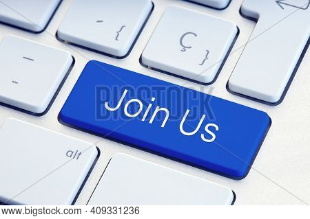 Join Us Word On Blue Computer Keyboard Key