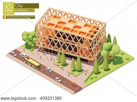 Vector Isometric Modern Office Building. Office Building, Trees, Cars, Bus And People. Isometric Cit